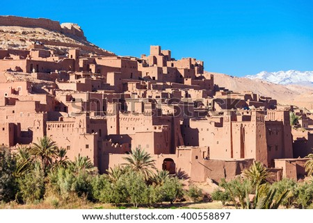 Ait Ben Haddou (or Ait Benhaddou) is a fortified city along the former caravan route between the Sahara and Marrakech in Morocco - stock photo