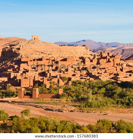 Ait Benhaddou,fortified city, kasbah or ksar, along the former caravan route between Sahara and Marrakesh in present day Morocco. It is situated in Souss Massa Draa on a hill along the Ounila River. - stock photo