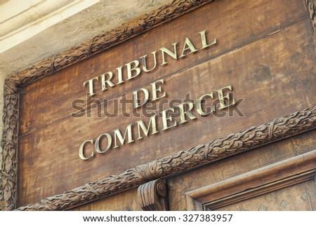 AIX EN PROVENCE, FRANCE - JUNE 1, 2015 : Commercial Court of Aix en Provence - stock photo