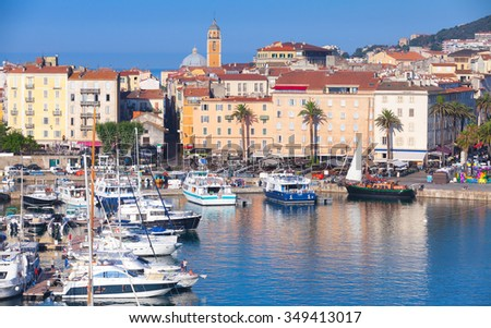 Ajaccio port cityscape with moored yachts and pleasure boats , Corsica island, France - stock photo