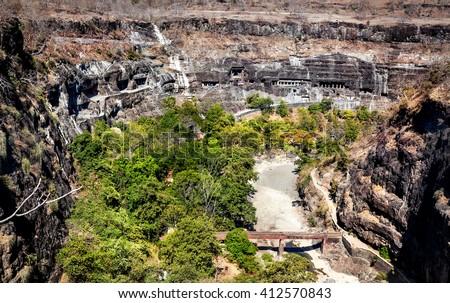 Ajanta cave view carved in the rock wall near Aurangabad, Maharashtra, India - stock photo