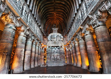 Ajanta Cave with Buddha statue inside in Maharashtra, India - stock photo