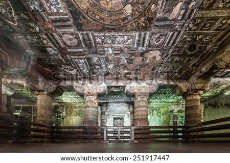 Ajanta caves near Aurangabad, Maharashtra state in India - stock photo