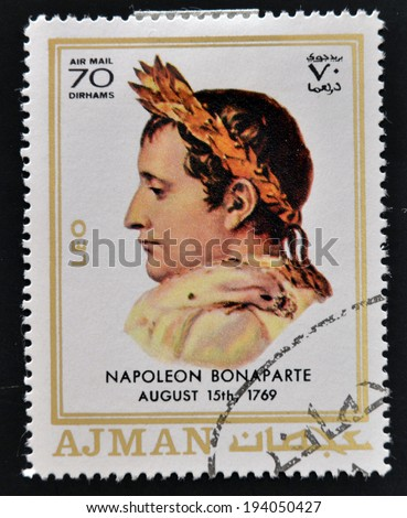 AJMAN - CIRCA 1970: A stamp printed in Ajman shows Napoleon Bonaparte, circa 1970  - stock photo