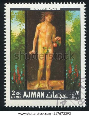 AJMAN - CIRCA 1976: stamp printed by Ajman, shows Adam by Durer, circa 1976 - stock photo