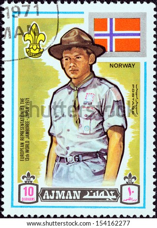 "AJMAN EMIRATE - CIRCA 1971: A stamp printed in United Arab Emirates from the ""13th World Boy Scout Jamboree - Japan"" issue shows boy scout from Norway, circa 1971.  - stock photo"