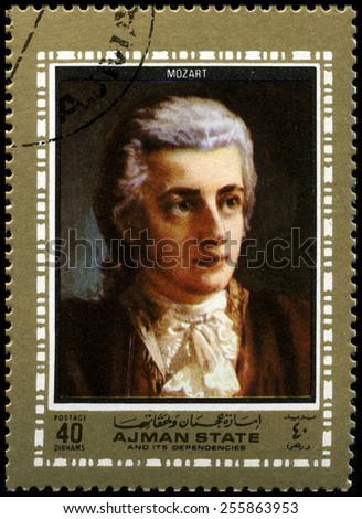 AJMAN STATE - CIRCA 1972: A used postage stamp from Ajman State depicting a portrait of famous Compoer Wolfgang Amadeus Mozart, circa 1972. - stock photo