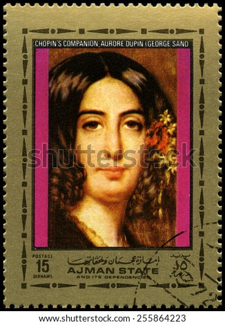 AJMAN STATE - CIRCA 1972: A used postage stamp from Ajman State, featuring a portrait of Frederic Chopins companion and novelist George Sand, circa 1972. - stock photo