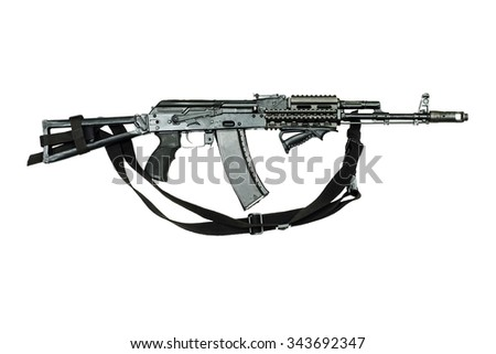 AK-47 Assault Rifle АKM on the whine backgroup - stock photo
