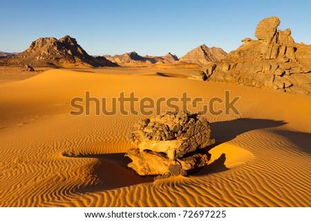 Akakus (Acacus) Mountains, Sahara, Libya - Bizarre sandstone rock formations - stock photo