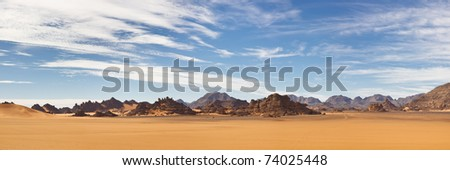 Akakus (Acacus) Mountains, Sahara, Libya - Panoramic View - stock photo