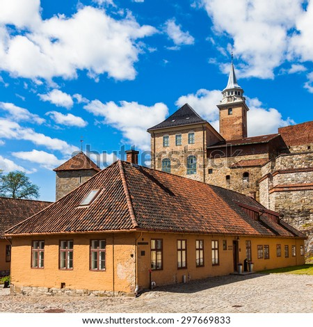 Akershus fortress and castle in Oslo, Norway. - stock photo
