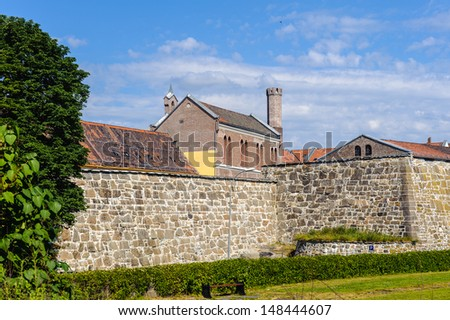 Akershus Fortress  or Akershus Castle, a medieval castle that was built to protect Oslo, the capital of Norway. - stock photo