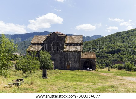 AKHTALA, ARMENIA - JULY 19, 2015: The Akhtala fortress-monastery a 10th-century fortified Georgian Orthodox Church monastery located in the town of Akhtala in the marz of Lori. - stock photo