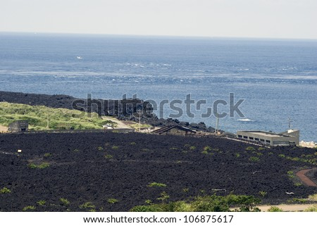 Ako village buried by lava, Miyake Island, Japan - stock photo