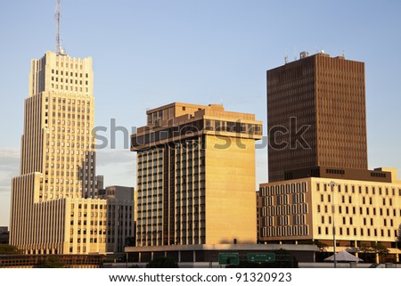 Akron, Ohio - afternoon skyline of the city - stock photo