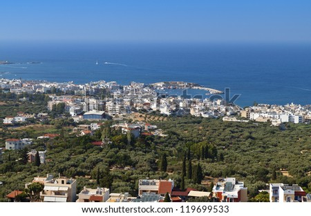 Akrotiri and Malia riviera near Heraklio city at Crete island in Greece - stock photo