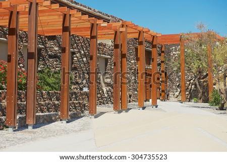 AKROTIRI, GREECE - AUGUST 01, 2012: Exterior of the entrance to the Akrotiri archaeological site in Akrotiri, Greece. - stock photo
