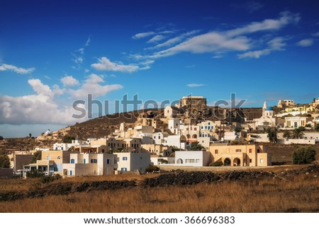 Akrotiri village in the morning light, Santorini island, Greece - stock photo