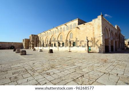 Al Aqsa Mosque in Jerusalem, the 3rd holiest site in Islam. - stock photo