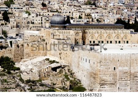 Al-Aqsa Mosque on Temple mount in Jerusalem, Israel. - stock photo
