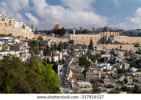 Al-Aqsa Mosque on Temple Mount of Old City, Jerusalem - stock photo