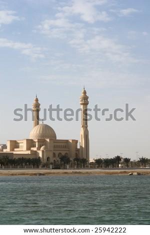 Al-Fateh Grand Mosque in Bahrain. A scene from seaside - stock photo