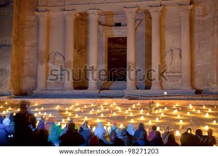 Al Khazneh or The Treasury building at Petra at night, Jordan - stock photo