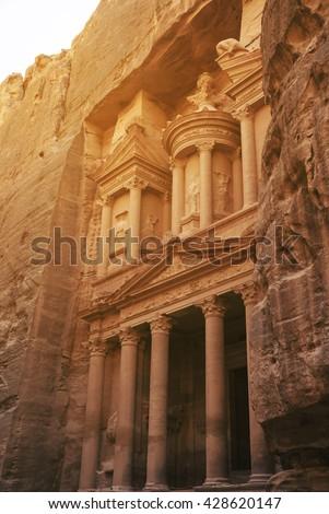 Al Khazneh, The Treasury in Petra, Jordan - stock photo