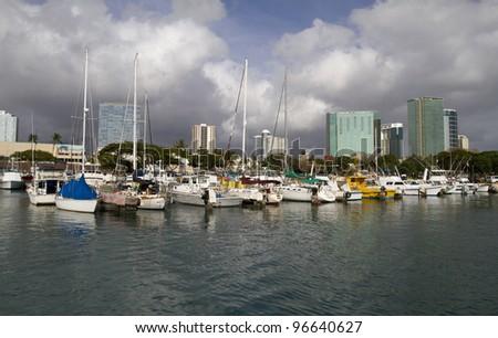 Ala Moana harbor in Honolulu, Oahu - stock photo