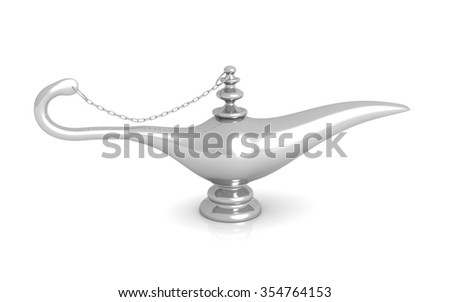 Aladdin magic lamp 3d illustration - stock photo
