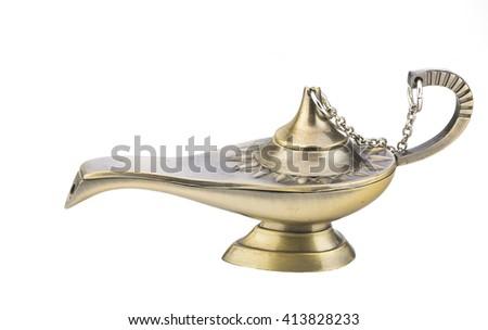 Aladdin old magic lamp isolated on white background - stock photo