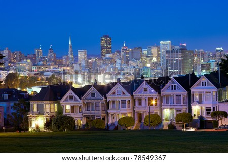 Alamo square and San Francisco skyline, California, USA - stock photo