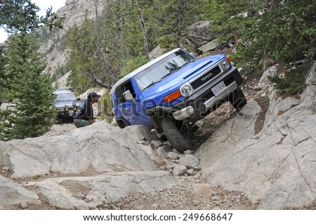 ALAMOSA - COLORADO CIRCA JULY 2011. Known as among the roughest Four Wheel Drive roads in the country, the Lake Como Road in the Sangre de Cristo Mountains will test the toughest 4x4 vehicle. - stock photo