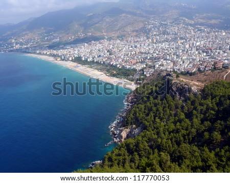 Alania bay in mediterranean sea, Turkey - stock photo