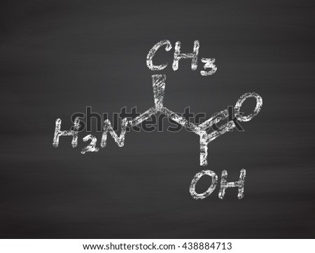 Alanine (L-alanine, Ala, A) amino acid molecule. Chalk on blackboard style illustration. - stock photo