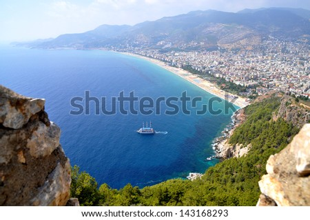 Alanya. Turkey. View of the city from fortress - stock photo