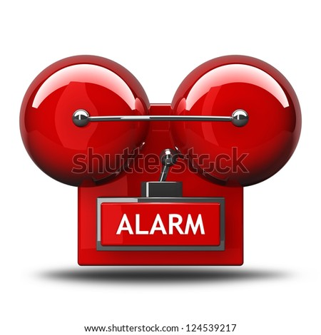 alarm bell isolated on white background. High resolution 3d render - stock photo