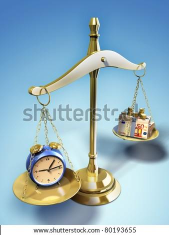 Alarm clock and money on a balance. Digital illustration. - stock photo