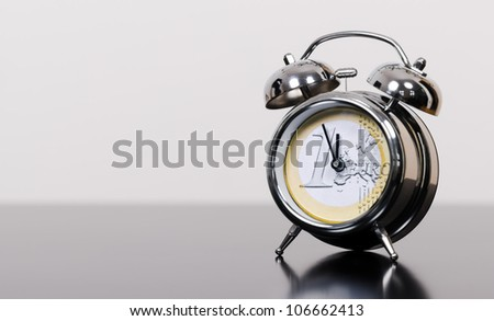 alarm clock as euro symbol at high time - stock photo