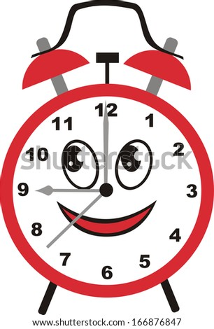 Alarm clock cartoon cute illustration - stock photo