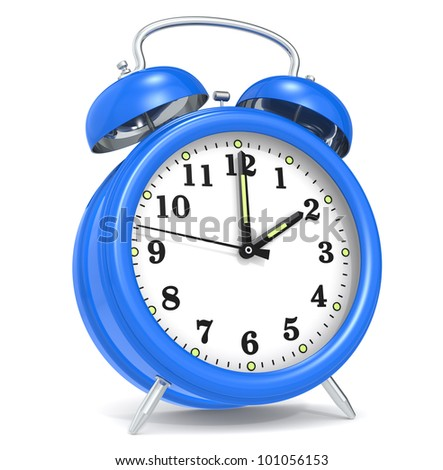 Alarm Clock. Classic alarm clock. Blue. - stock photo