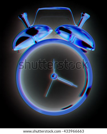 Alarm clock. 3D icon on a black background. 3D illustration. Anaglyph. View with red/cyan glasses to see in 3D. - stock photo