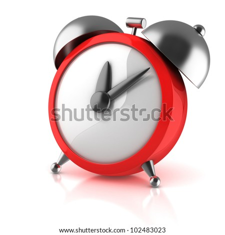 alarm clock 3d illustration isolated on white - stock photo