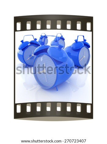alarm clock 3d illustration isolated on white. The film strip - stock photo