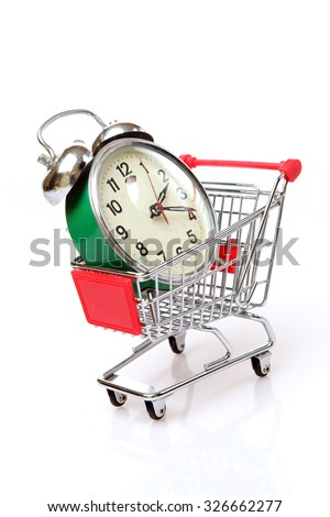 alarm clock in a shopping cart on the white background