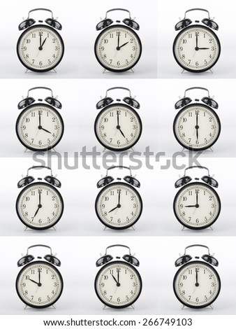 Alarm clock is showing the right time. Alarm clock collage. - stock photo