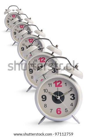 Alarm clock isolated on a white background, selective focus. - stock photo