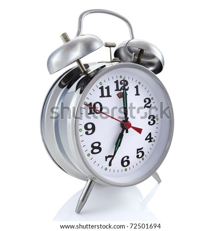 Alarm clock, isolated on the white background, clipping path included. - stock photo