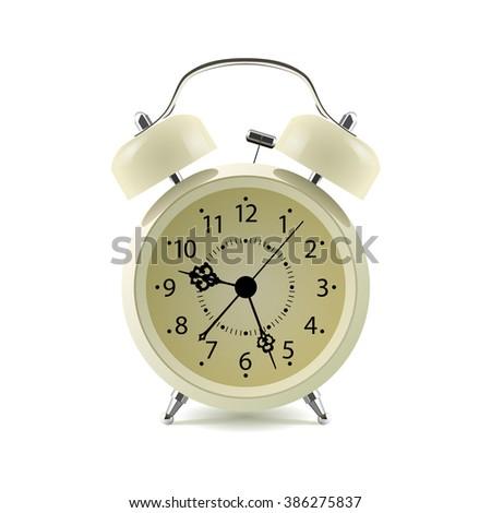 Alarm clock isolated on white background - stock photo